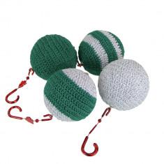 Set 4 globuri crosetate manual, Buticcochet, diametru 6 cm, Verde cu argintiu - Globuri brad