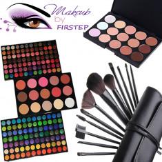 Trusa machiaj profesionala 183 culori MAC + 12 pensule make up + Fond de ten - Trusa make up