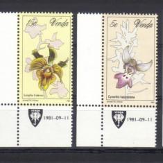 VENDA 1981, Flori. Orhidee, serie completa neuzată, MNH, Nestampilat
