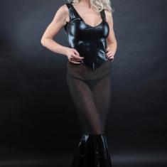 Lenjerie Lady Lust Sexy 310 Rochie Transparenta Dansatoare Piele Eco Domina - Rochie de club, Culoare: Negru, Marime: Masura unica