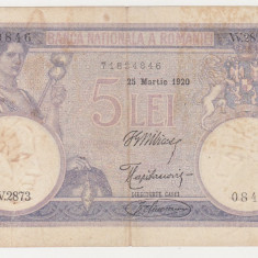 ROMANIA 5 lei 1920 VF+ pliu pe mijloc data lunga - Bancnota romaneasca