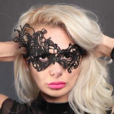 Masca Carnaval Foreplay Adult Venetiana Neagra Black Dantela Halloween, Marime universala, Negru