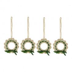 Set 4 coronite crosetate manual, diametru de la 6 cm, Auriu cu verde - Coronite Craciun