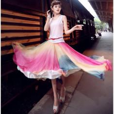 RV182-55 Fusta lunga vaporoasa, multicolora, Marime: S/M, Din imagine