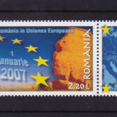 ROMANIA 2007, LP 1752, ROMANIA IN U. E. MNH - Timbre Romania, Nestampilat