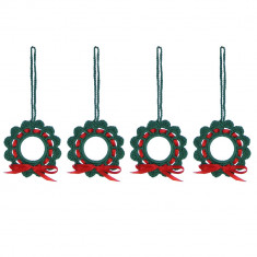Set 4 coronite crosetate manual, diametru de la 6 cm, Verde - Coronite Craciun