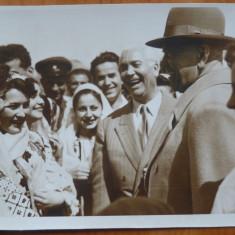 Petru Groza si Gheorghiu Dej in 1957 cu ansamblul Sfatului Popular al Capitalei - Fotografie
