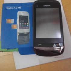 Telefon mobil Nokia C2-03 negre noi, Neblocat