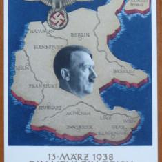 CP nazista cromolitografiata, O Natiune, un Imperiu, un Fuhrer, Martie 1938 - Fotografie veche