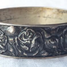 Bratara argint DEPOSE art nouveau Franta 1900 Trandafiri SUPERBA de Efect Rara