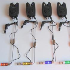 Set 4 Avertizori Senzori Baracuda + 4 Swingere cu led - Avertizor pescuit Baracuda, Electronice