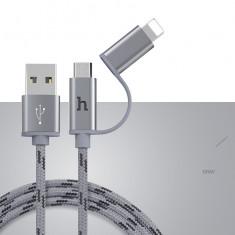 Cablu incarcare 2in1 cu doua mufe LIGHTNING + MICRO USB, textil, rezistent GRI - Cablu de date Hoco