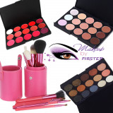 Trusa machiaj 15 culori FARD NUDE + set 12 pensule make up + Rujuri  Fond de ten