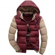 Geaca slim de iarna pentru barbati cu gluga detasabila model 2016 - Geaca barbati, Marime: XL, Culoare: Din imagine, Poliester