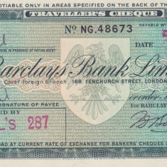 Cec de calatorie Barclays Bank Limited 10 Pounds - 1962 - Cambie si Cec