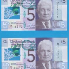 LOT 2 BANCNOTE SERII CONSECUTIVE - SCOTIA - 5 POUNDS 2015 (13.02.2015), aUNC - bancnota europa