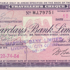 Cec de calatorie Barclays Bank Limited 5 Pounds - 1963 - Cambie si Cec
