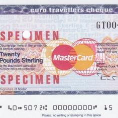 Cec de calatorie Thomas Cook - MasterCard 20 Lire sterline SPECIMEN - Cambie si Cec