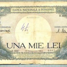 A1037 BANCNOTA-ROMANIA-1000 LEI-10 OCTOMVRIE1944-SERIA 3339-starea care se vede - Bancnota romaneasca