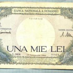 A1038 BANCNOTA-ROMANIA-1000 LEI-10 OCTOMVRIE1944-SERIA 3408-starea care se vede - Bancnota romaneasca