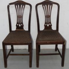 2 Scaune Vintage din lemn masiv; Scaun, 1900 - 1949