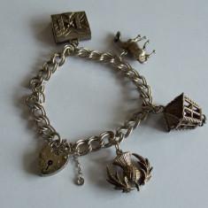 Bratara de argint vintage cu charmuri -28 - Bratara argint