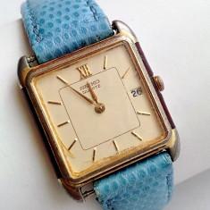 Ceas vintage Seiko placat cu aur - Ceas dama Seiko, Elegant, Quartz, Piele, Data