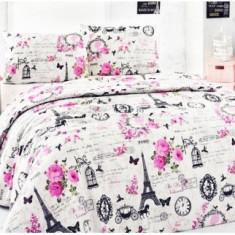 Lenjerii de pat copii Paris 140x210 - Lenjerie pat copii Altele, Alte dimensiuni, Roz
