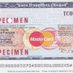 Cec de calatorie Thomas Cook - MasterCard 200 Franci SPECIMEN - Cambie si Cec