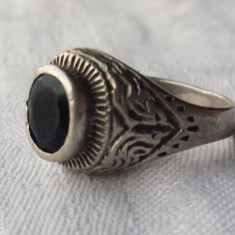 Inel argint cu Onix fatetat Vechi executat manual stil ORIENTAL MASIV de Efect