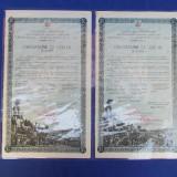 OBLIGATIUNE DE 1.000 LEI / IMPRUMUTUL REINTREGIRII DIN 1941 ( 2 BUCATI )