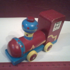 Bnk jc Locomotiva de lemn - Jucarie de colectie