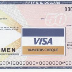 Cec de calatorie VISA 50 Dolari SPECIMEN - Cambie si Cec
