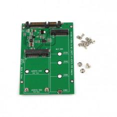 Adaptor Mini PCI-E 2 Lane M.2 si mSATA SSD la SATA III 7+15 Pin - Adaptor interfata PC