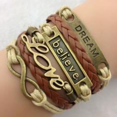 Bratara Fashion Handmade Piele + mesaje conturate si inscriptionate