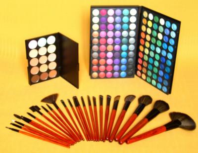 Trusa machiaj paleta fard 120 culori 24 pensule fond de ten corector concealer foto