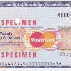 Cec de calatorie Thomas Cook - MasterCard 20 Dolari SPECIMEN - Cambie si Cec