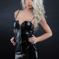Lenjerie Lady Lust Sexy 200 Babydoll Rochita Piele PU Neagra Fermoar Club Outfit - Lenjerie sexy femei, Marime: One size, Culoare: Negru