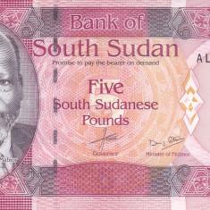 Bancnota Sudanul de Sud 5 Pounds 2015 - P6b UNC
