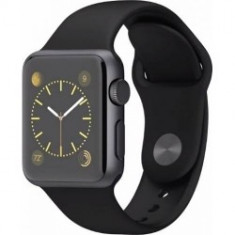 Apple Sport Watch 38 mm Carcasa Aluminiu Neagra Si Curea Sport Negra - Smartwatch