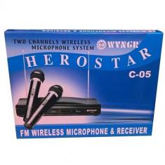 Set 2 microfoane cu receiver Herostar C-05 - Microfon