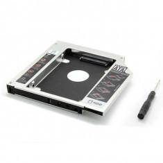 Hard disk caddy adaptor de la unitate optica SATA la HDD SATA 9.5mm HDD / SSD - Suport laptop