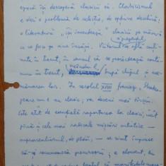 Eseu literar scris olograf de Nicolae Manolescu pe 5 pagini si semnat - Autograf