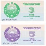 Bancnota Uzbekistan 3 si 5 Sum 1992 - P62/63 UNC (set 2 bancnote) - bancnota asia
