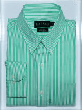 Camasa Ralph  Lauren  | Fitted non iron |  Green stripes  39, Maneca lunga, Verde, Ralph Lauren