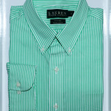Camasa Ralph Lauren | Fitted non iron | Green stripes 39 - Camasa barbati Ralph Lauren, Culoare: Verde, Maneca lunga