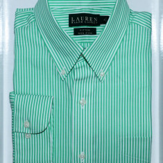 Camasa Ralph Lauren   Fitted non iron   Green stripes 39 - Camasa barbati Ralph Lauren, Culoare: Verde, Maneca lunga