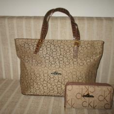 Set dama geanta si portofel CK Calvin Klein+CADOU - Geanta Dama Calvin Klein, Culoare: Din imagine, Marime: Mare, Geanta de umar
