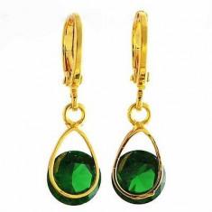Superbi cercei 9k GOLD FILLED - verde smarald - Cercei placati cu aur