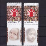 ROMANIA 2010 LP 1867 c ORGAN. SALVATI COPII 2 SERII CU VINIETE DIFERITE MNH - Timbre Romania, Nestampilat